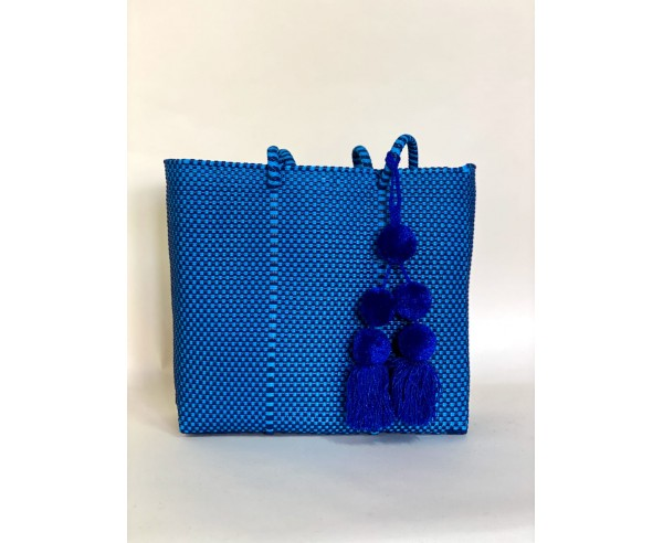 SMALL TOTE NAVY + POMPON | BAG